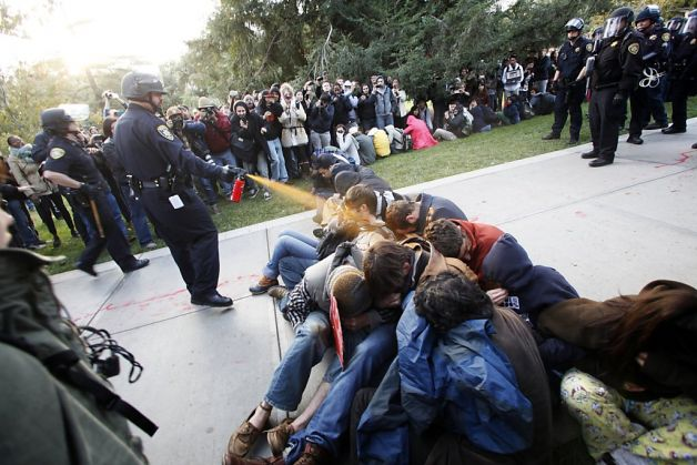 University of California, Davis campus police pepper spray unarmed students at a peaceful demonstration.