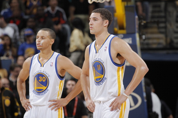 Splash Brothers making it happen in Golden State. Photo from Bleacher Report.