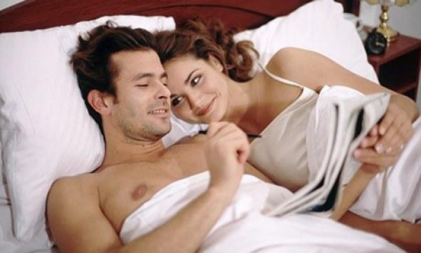Happy couple bed