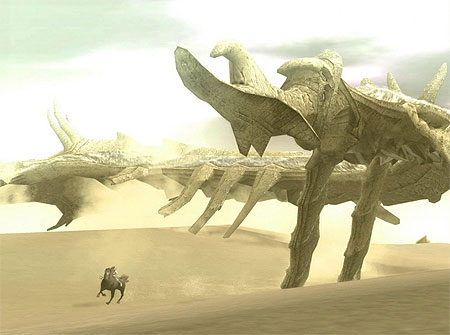 The main character on horseback along with the largest colossus, Phalanx.