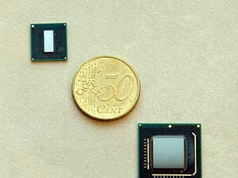 The size of the processor compared to a coin.