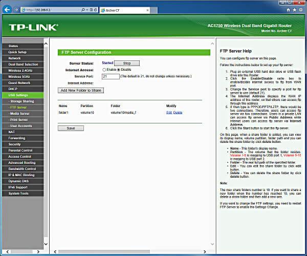 tp-link ac1750 FTP