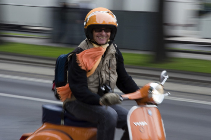 Man on Orange Vespa
