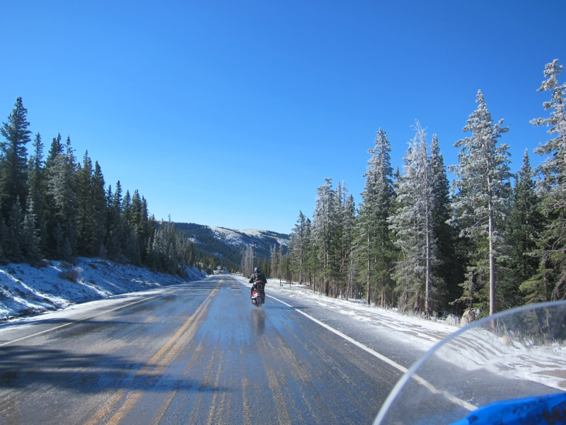 Slow going over ice and slush in Hoosier Pass