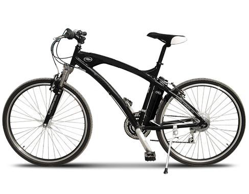E-bike with front suspension and a rear hub motor