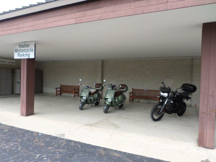 Bike parking at the Motorcycle Hall of Fame