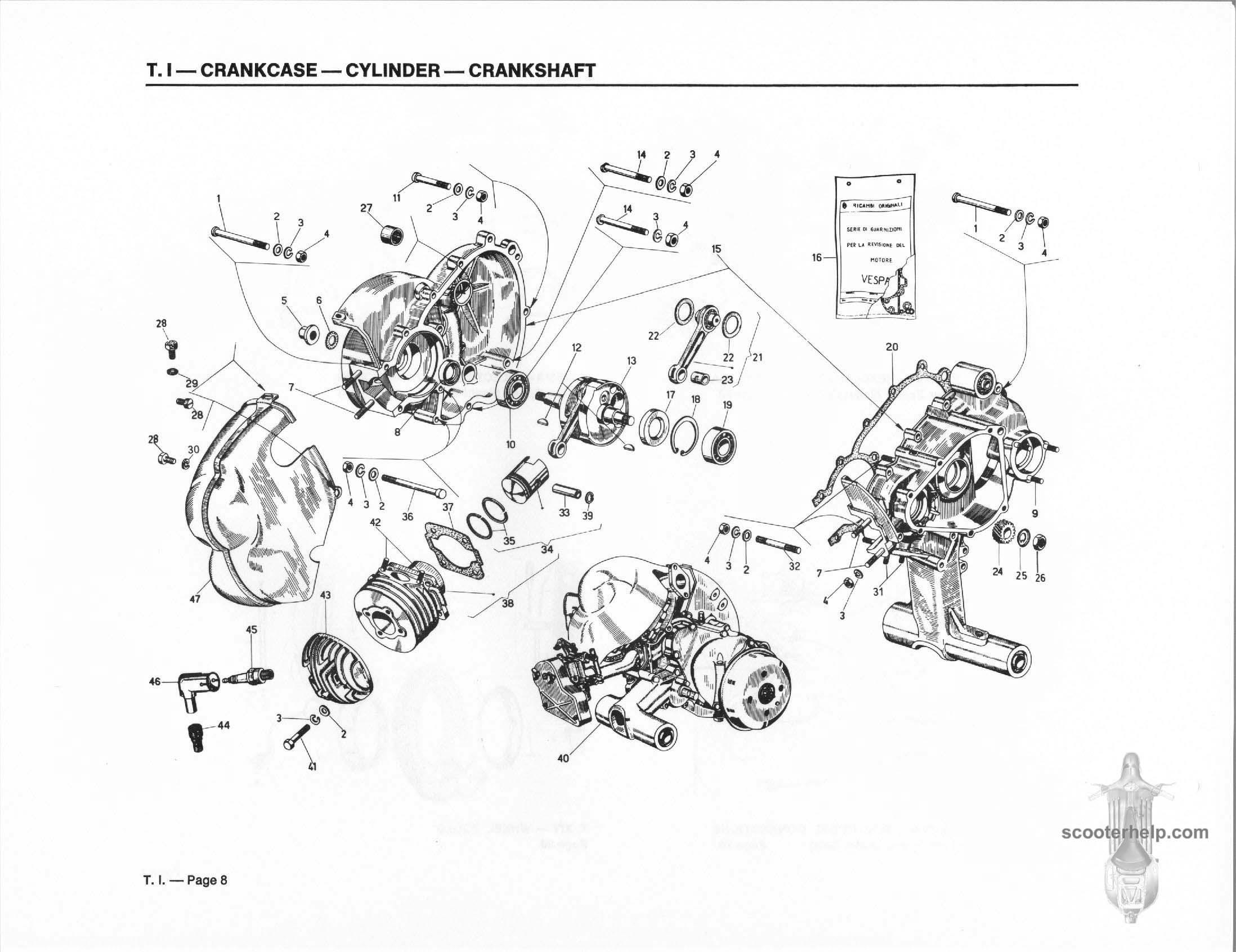 Vespa 50 Special USA (V5B3T) Parts Book