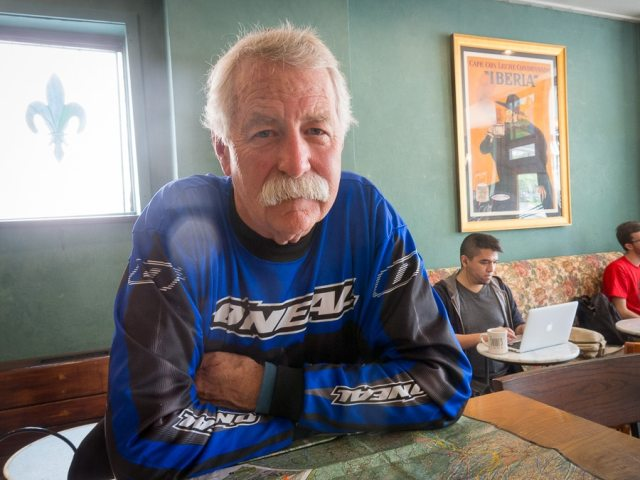 Motorcycle rider Bruce Leigh at Saint's Cafe