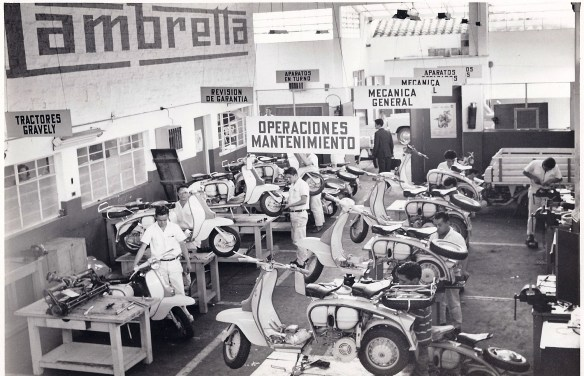 An Auteco Lambretta service workshop during the 1960s.