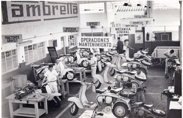 An Auteco Lambretta service workshop during the 1960s.