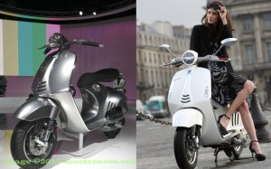 (left) The Vespa 46 prototype at the Milan Motorcycle Show in 2011. (right) The Vespa 946, available via selected Vespa dealers worldwide throughout 2013.