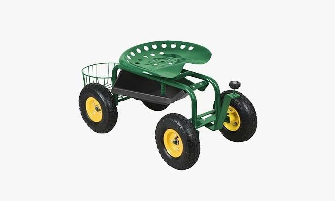 Yaheetech Green Heavy Duty Garden Cart Rolling Work Seat