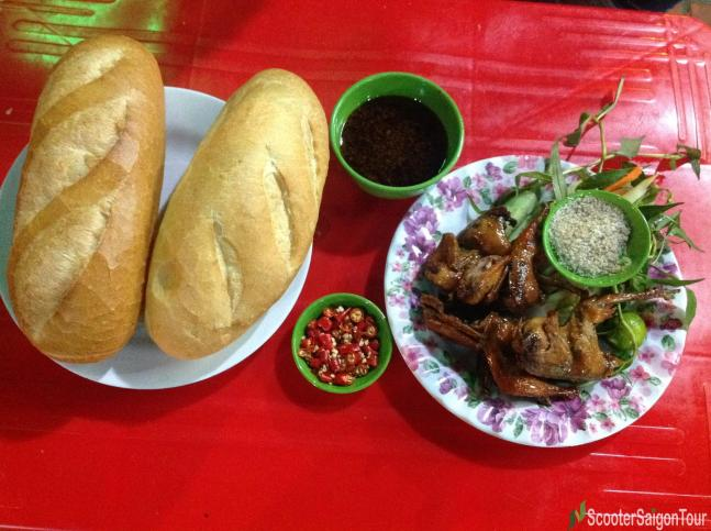 butter fried quail at Chim Cut Co Nam tracy do