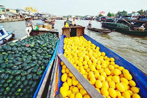 Long Xuyen floating market