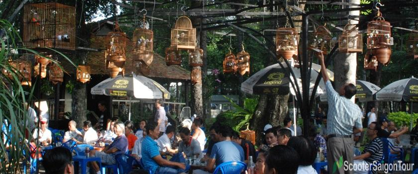 bird cafe at Tao Dan park - morning saigon food tour by motorbike