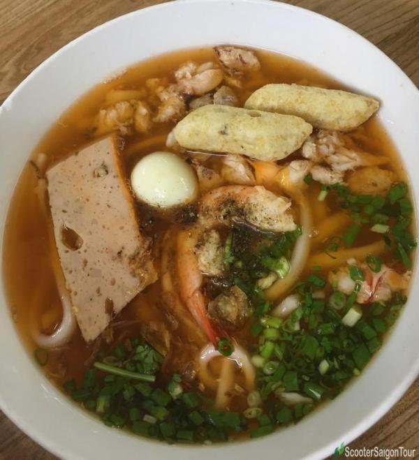 Soup Cake with Shrimp, quail egg, fish pie tracy