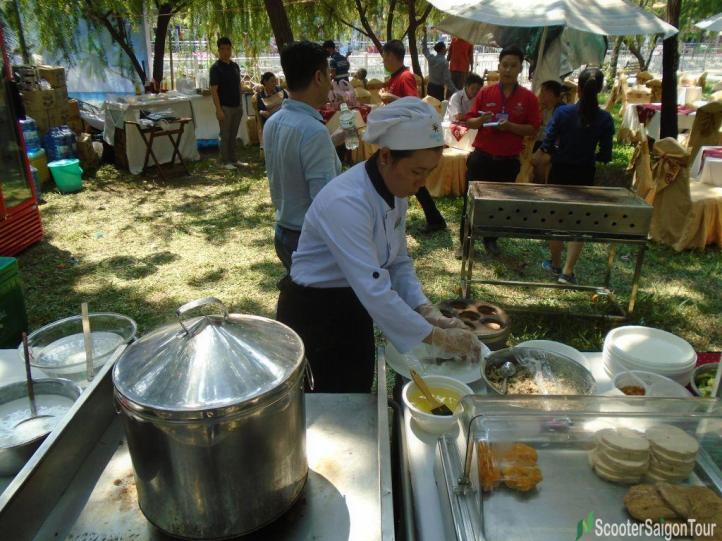 The Cook Is Making Vietnamese Stuffed Pancake