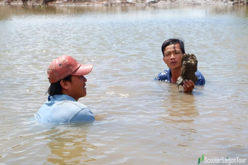 Catching Oyster In Mekong Delta 1