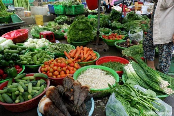 Fresh Vegetables At Saigon Local Market