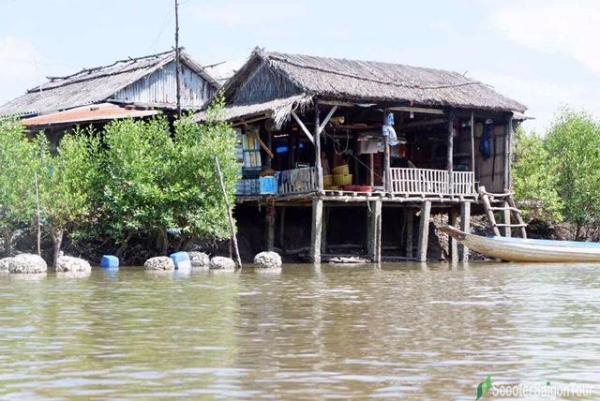Stilt House On River In Mekong Delta
