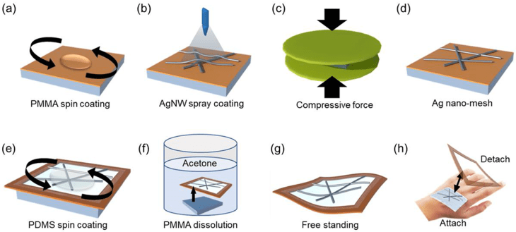 The fabrication process for the embedded silver nanowire (AgNW) nanomesh transparent skin electrode