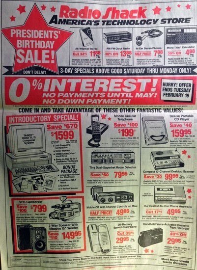 Image of a 1991 Radio Shack ad, taken from a 2014 article in the Huffington Post. Perhaps digital circuit breakers are power systems' equivalent to smartphones.