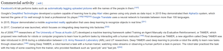 """""""Commercial activity"""" section of the """"deep learning"""" Wikipedia page."""