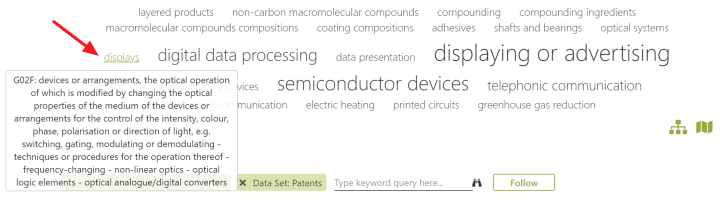 Mergeflow uses mouseover texts to display the full description of CPC patent classes.