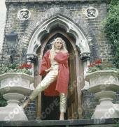 British musician Lynsey De Paul outsidde her home in west Hampstead. London, England. 1984.