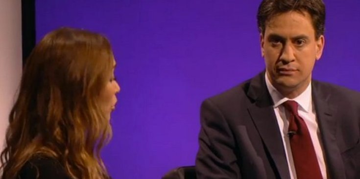 Myleene Klass criticises Labour's mansion tax plans during an appearance with Ed Miliband on ITV's The Agenda
