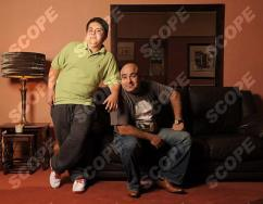Demetrios Demetriou and son Lagi,14 at home in Winchmore Hill, North London - 2010 REF NO : 74699PD FOR EDITORIAL USE ONLY