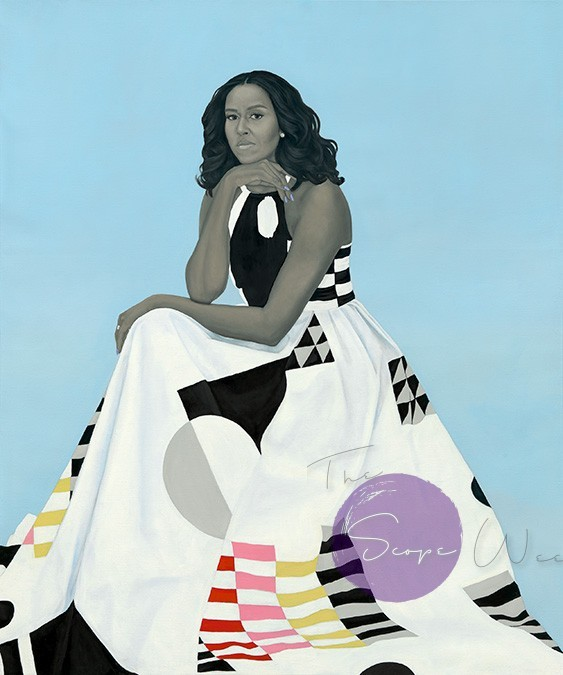 Michelle La Vaughn Robinson Obama by Amy Sherald  Oil on linen 2018  National Portrait, Smithsonian Institution. The National Portrait is grateful to the following lead donors to the Obama portraits Kate Capshaw and Steven Spielberg Ju