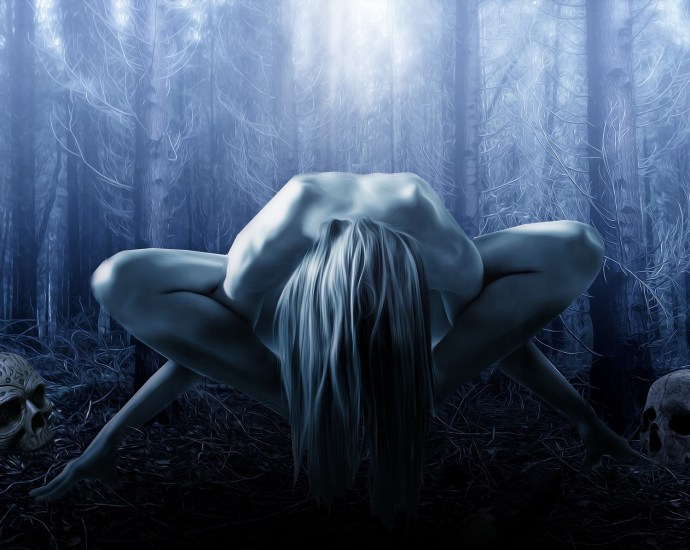female witch in forest