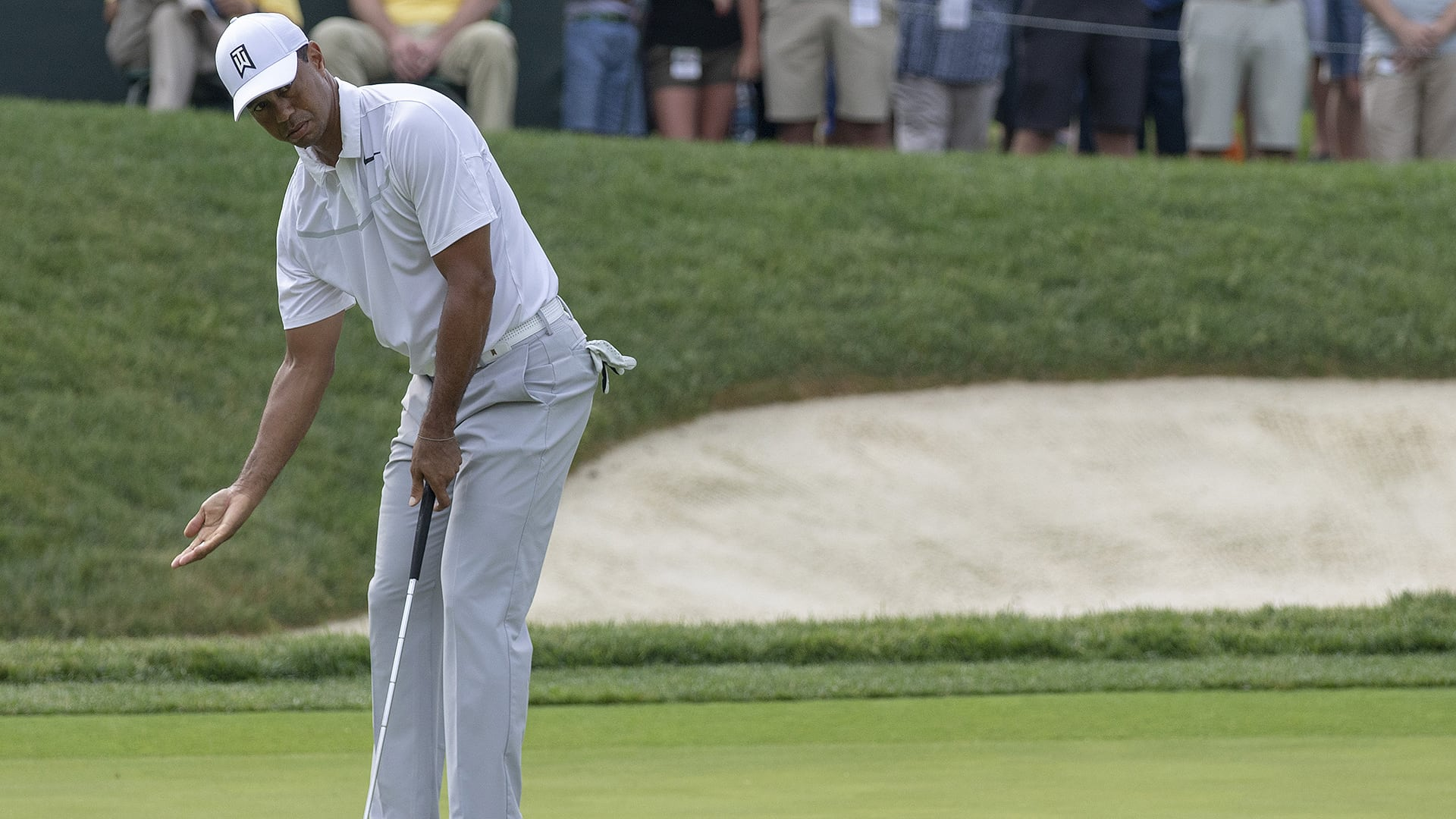 Watch: Woods struggles out of the gate at Memorial