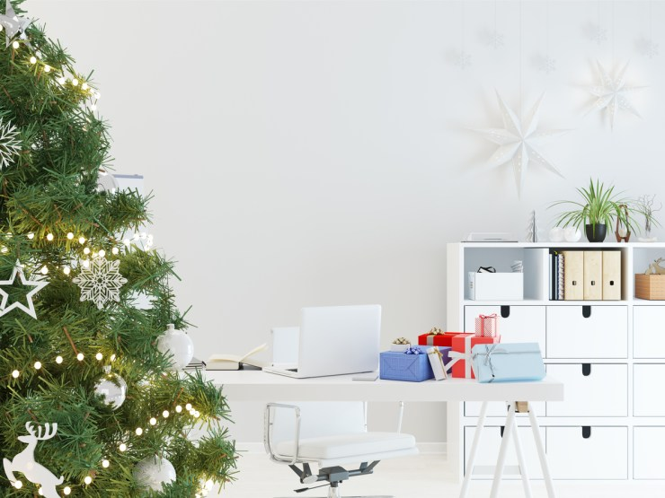 decorate you desk for christmas like this