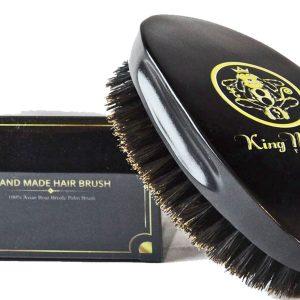 KMP Medium Boar Bristle Cushion Hair & Beard Brush Rubber Cushion Hair Brush