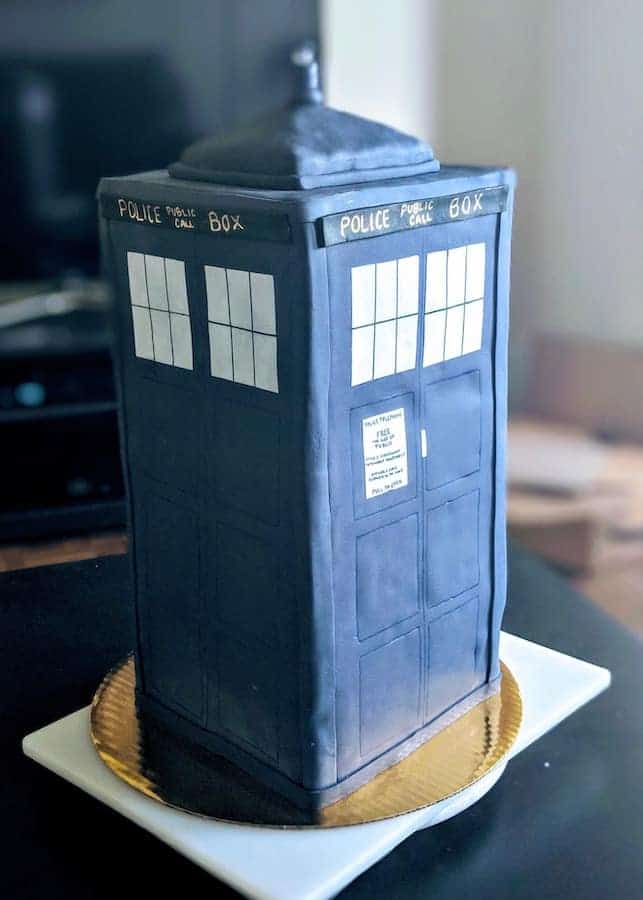 chocolate chip cookie cake, TARDIS cake, groom's cake, Dr. Who, chocolate chip cookie, Sally's Baking Addiction