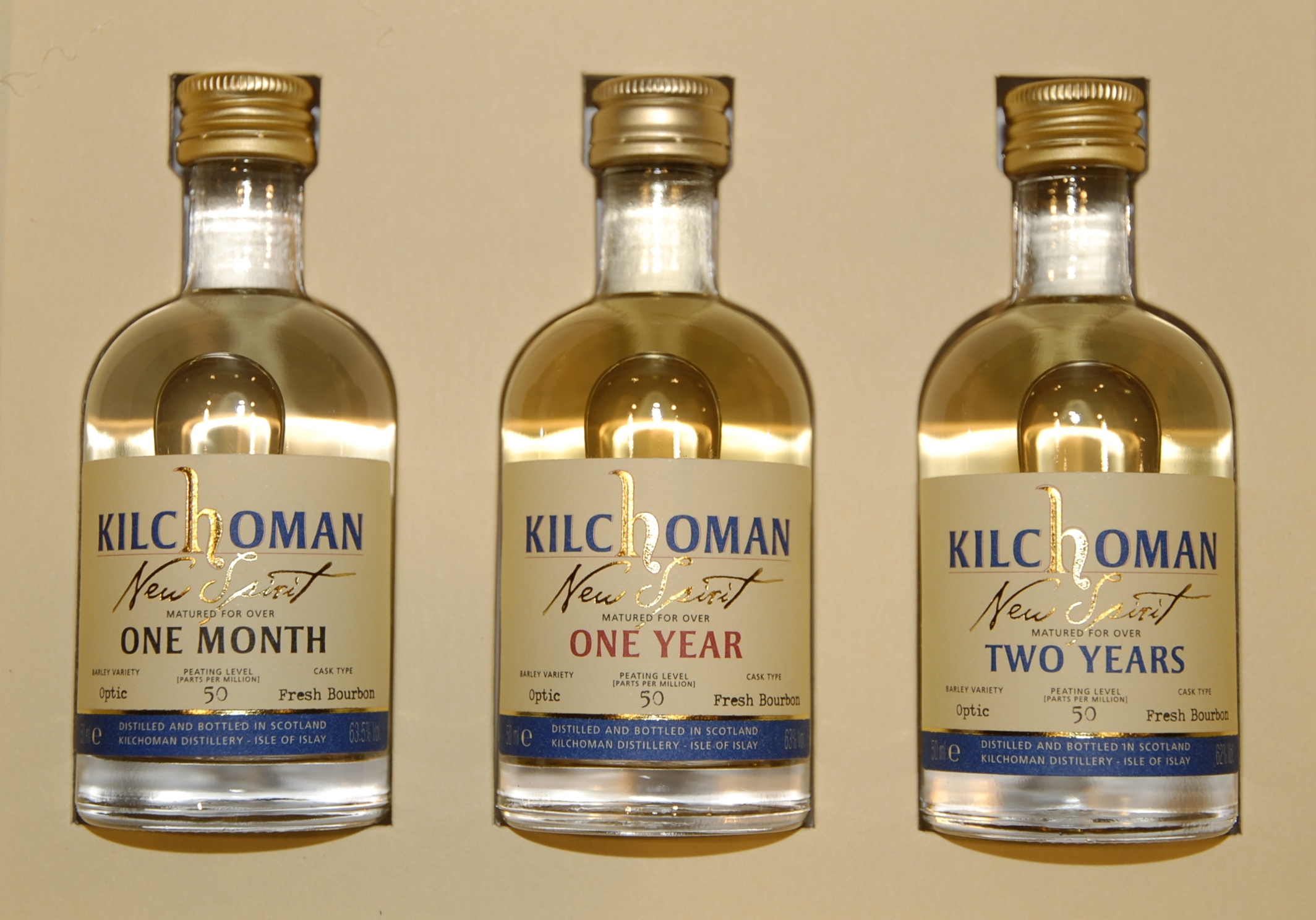 Kilchoman New Spirit bottles