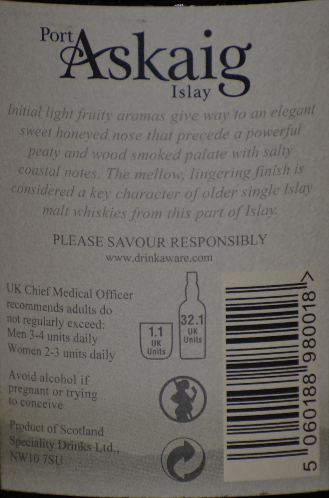 Port Askaig 17 Back Label