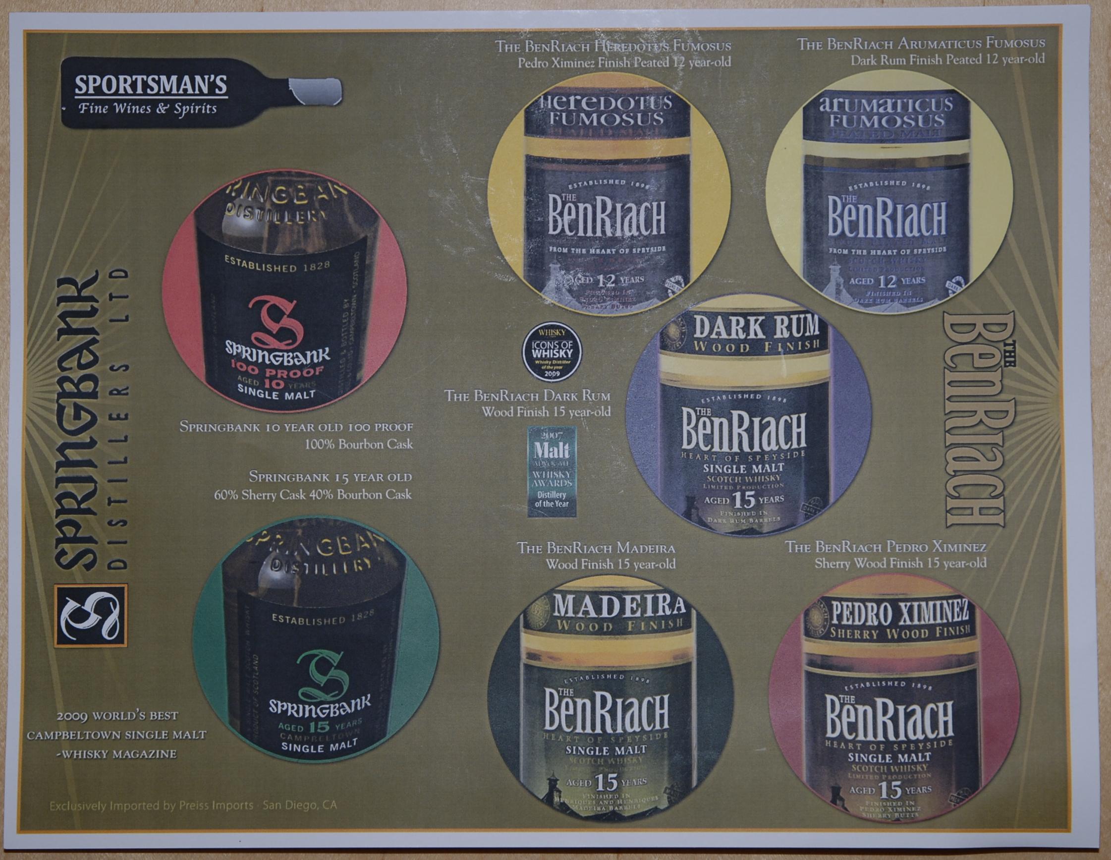 Springbank/BenRiach tasting mat