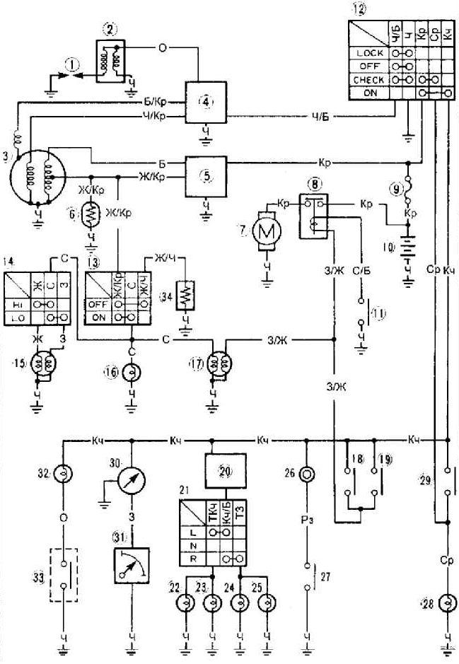 SCOTER Схема электрооборудования YAMAHA JOG
