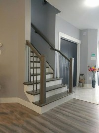 modern profile hand rail and newel posts | Scotia Stairs Ltd.