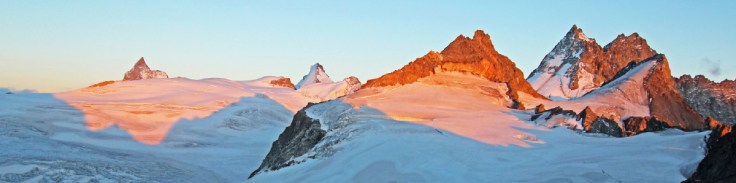 Photo of An evening panorama from the Cabane de Bertol with the Matterhorn, Tete Blanche, Dent d'Herens, Dents de Bertol and Bouquetins visible