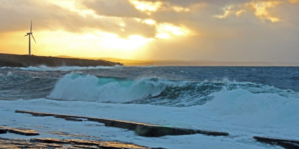 Photo of a stormy Atlantic Ocean crashing over the rocks near Ushat Head at Crosskirk, Caithness on Sunday 29th October 2017