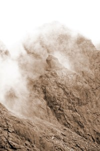 Photo of the Cioch, Coire Lagan, highlighted by swirling mist.