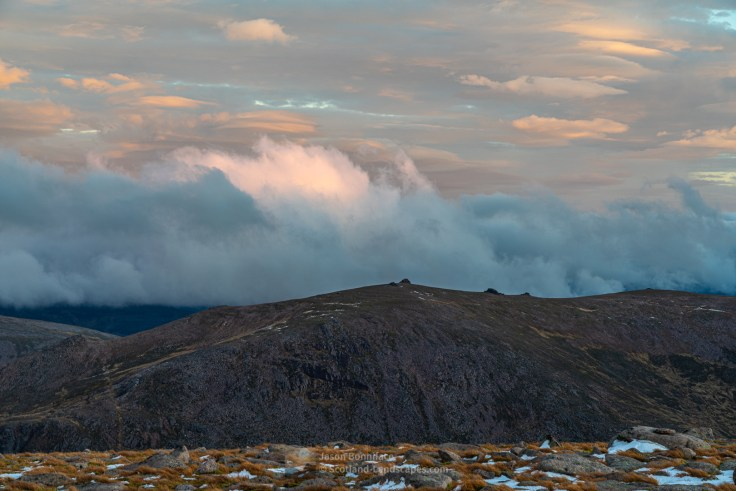 The summit tors of Beinn Mheadhoin from the summit of Cairngorm