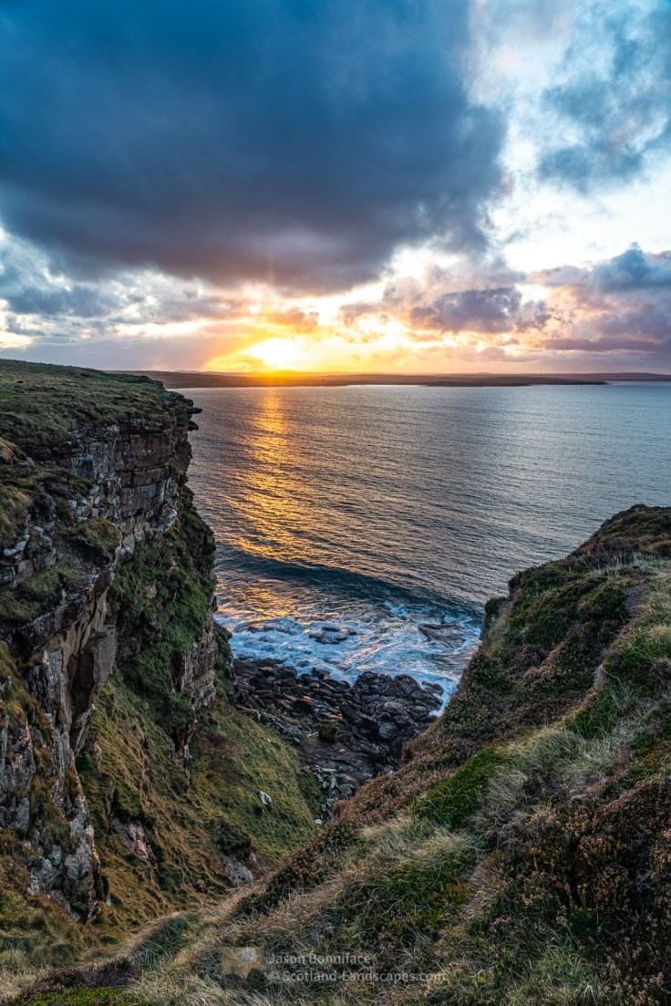 Sunset over Murkle near Thurso from the cliffs of Dwarwick Head, Dunnet
