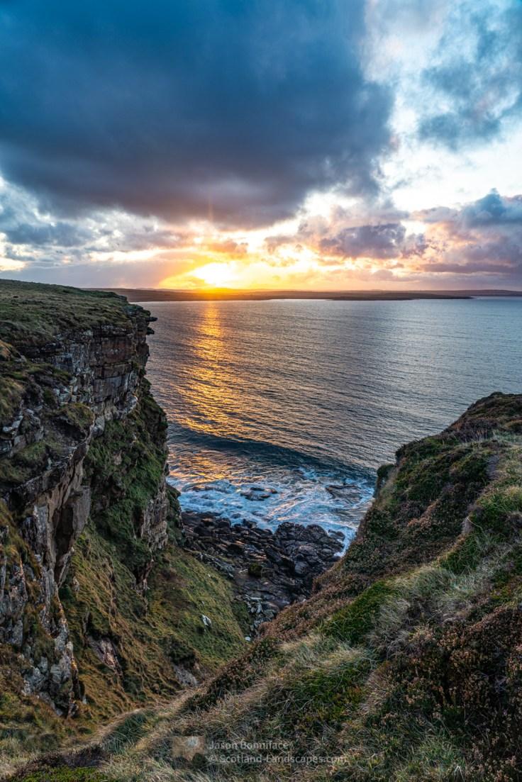 Sunset over Murkle near Thurso from the cliffs of Dwarwick Head, Dunnet
