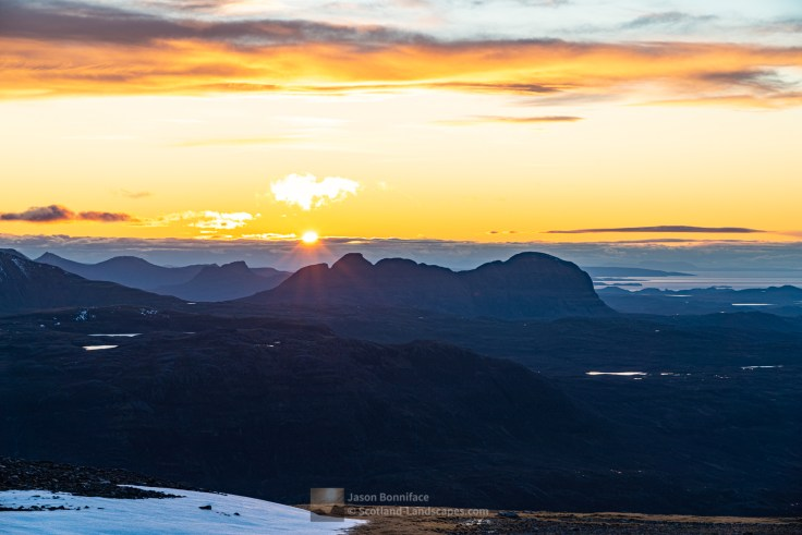 The last of the sun behind Suilven