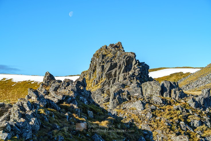 Pinnacle and Moon, Glen Affric